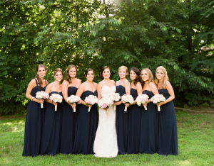 Navy Strapless Bridesmaids Dresses