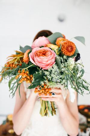 Orange and Pink Wedding Flowers