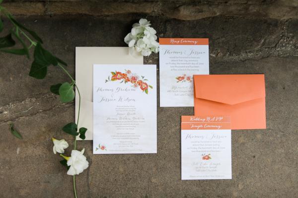 Peach Wedding Stationery