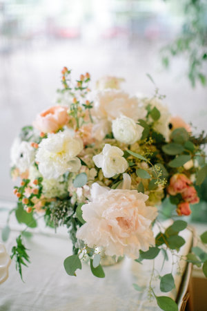 Peach and Green Centerpiece with Greenery