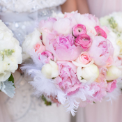 Pink Bouquet with Feathers