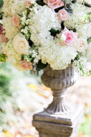 Pink and Ivory Pedestal Flowers