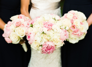 Pink and Ivory Rose Bouquets