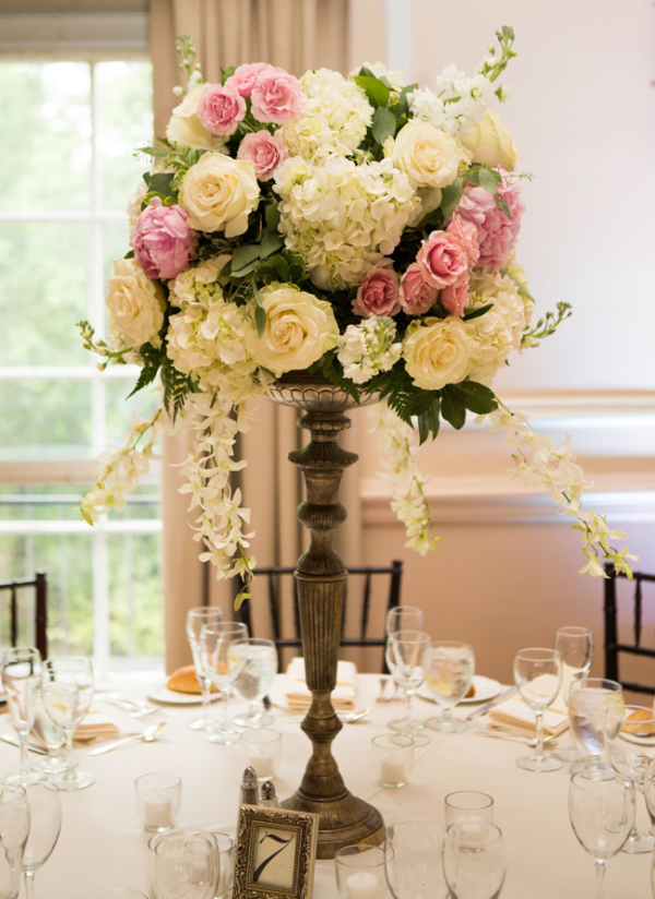 Rose and hydrangea topiary style centerpiece elizabeth