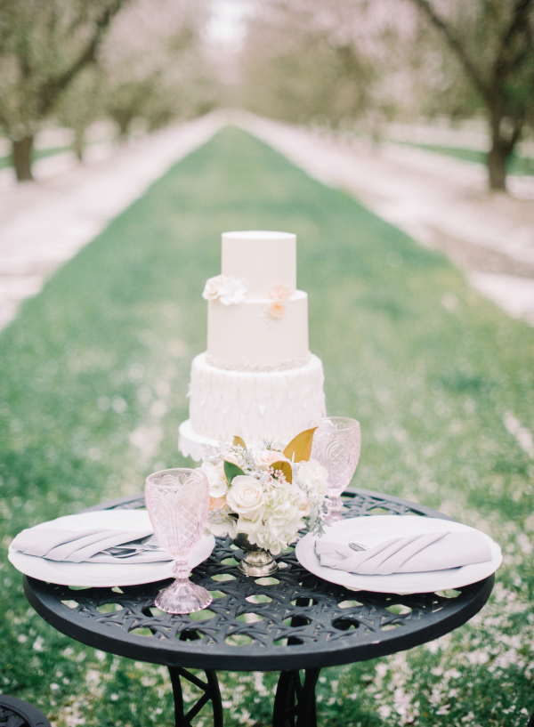 Sleek White Wedding Cake