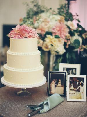 Three Tier Ivory Wedding Cake