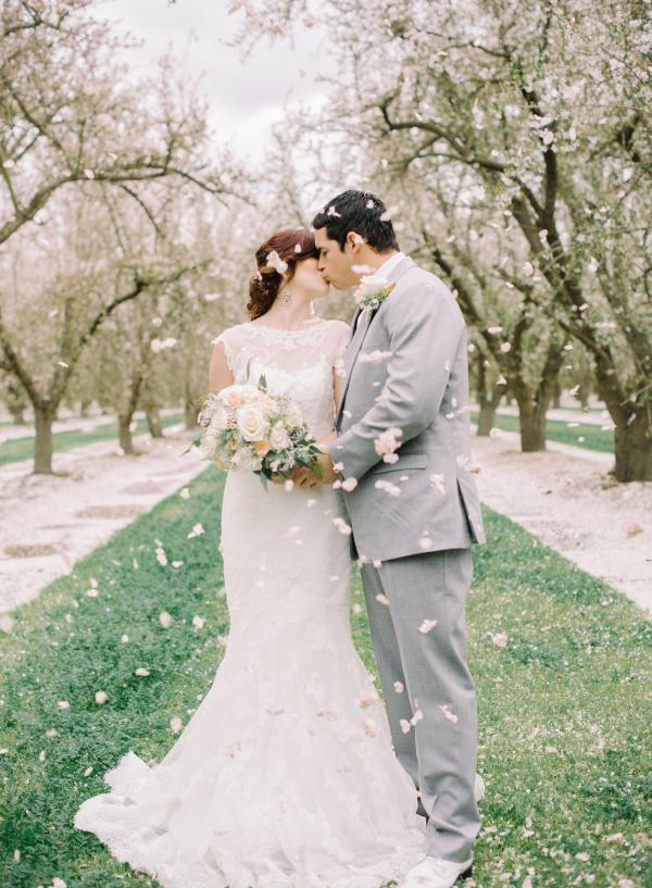 Tossed Flower Petals at Wedding