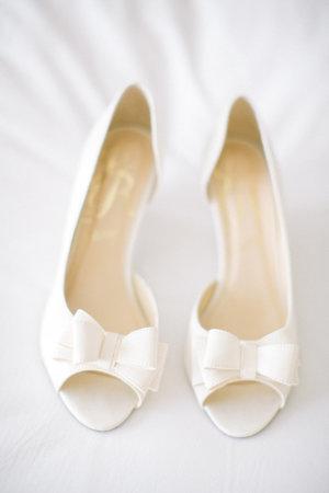 White Bow Wedding Shoes