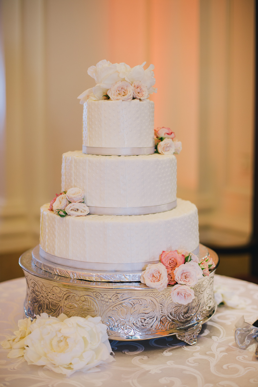 White Wedding Cake With Pink Flowers Elizabeth Anne Designs The