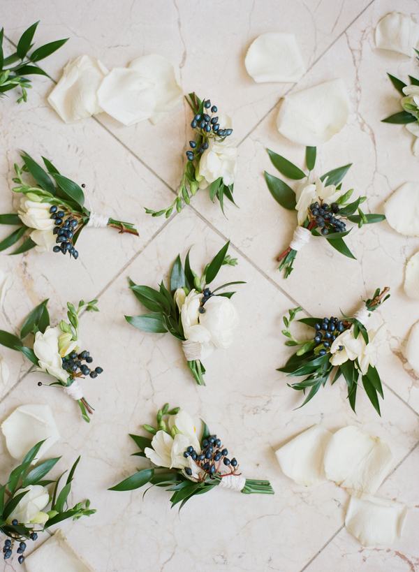 White and Green Boutonnieres