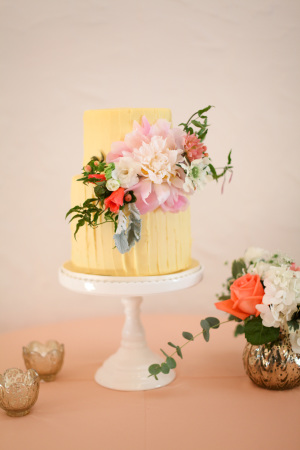 Yellow Wedding Cake with Flowers