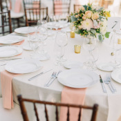 Yellow and Peach Wedding Table