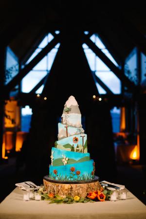 Aspen Theme Wedding Cake