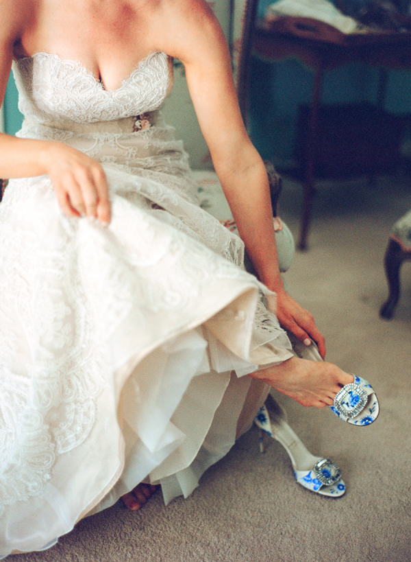 Bride in Blue Toile Shoes