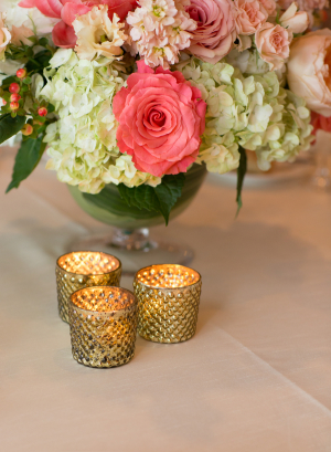 Bright Pink and Ivory Centerpiece