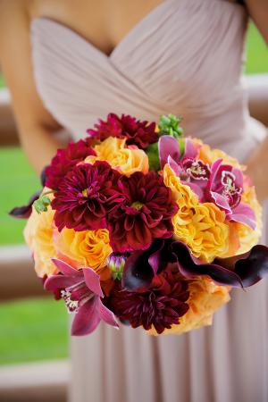 Burgundy and Marigold Bouquet