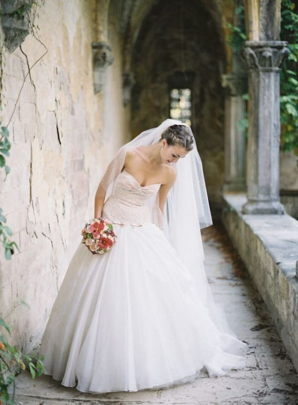 Classic blush pink wedding dress