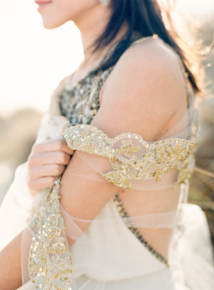 Gold Lace Trim Bridal Veil