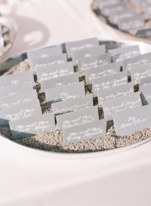 Gray Escort Cards with White Calligraphy