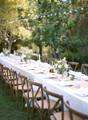 Green Centerpieces at Backyard Wedding