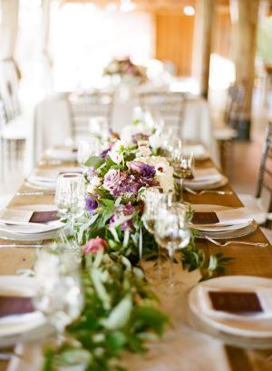 Greenery and Purple Flower Centerpiece
