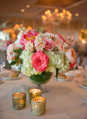 Hot Pink and Ivory Centerpiece