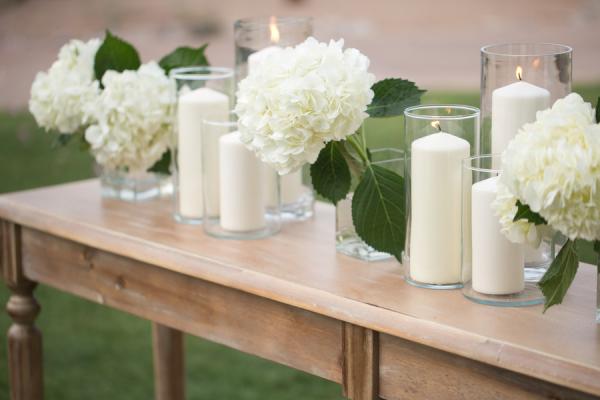 Hydrangea And Pillar Candle Wedding Decor