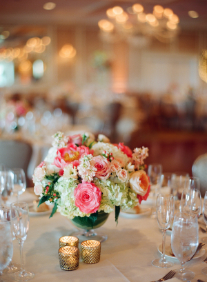 Ivory and Hot Pink Centerpiece