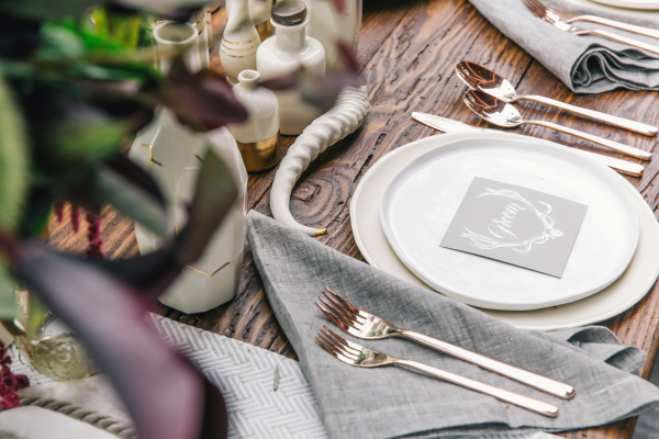 Natural Gray and White Place Setting