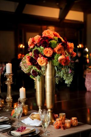 Orange and Gold Wedding Centerpiece