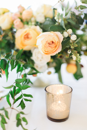 Pale Peach and Yellow Centerpiece