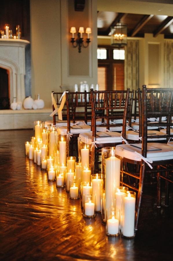 Pillar Candles Along Wedding Aisle