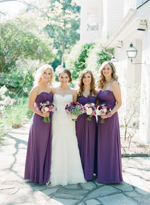 Purple Strapless Bridesmaids Dresses