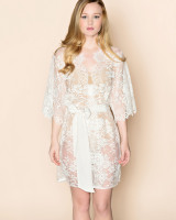 Swan Queen Bridal Lace Kimono Robe Off White Ivory Main