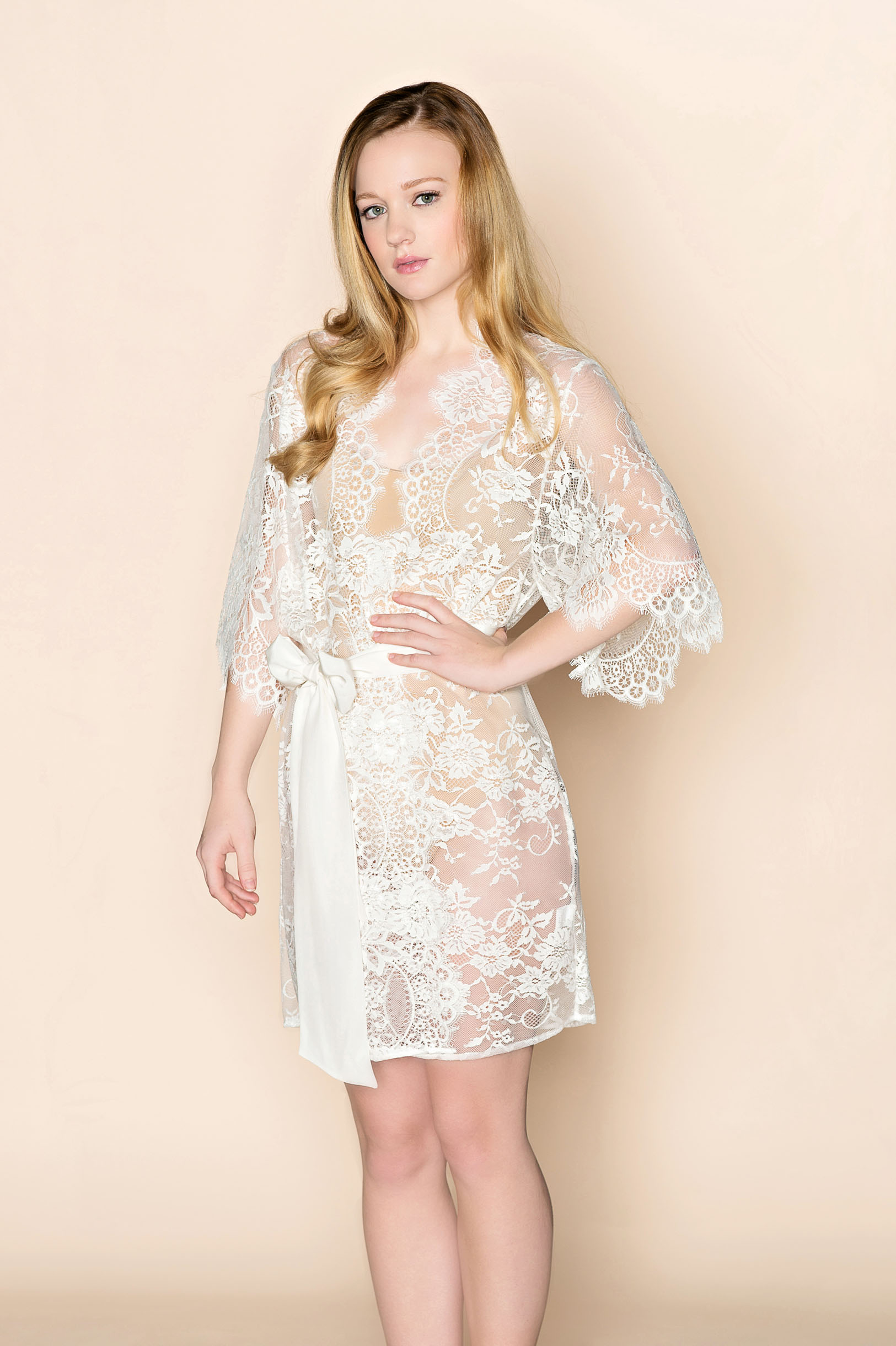 100% high quality top-rated superior quality Swan Queen Bridal Lace Kimono Robe Off White Ivory ...
