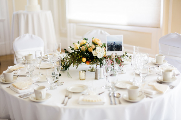 Wedding Table with Yellow Centerpiece
