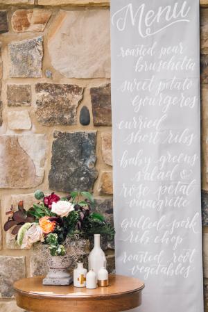 White Calligraphy Hanging Wedding Menu