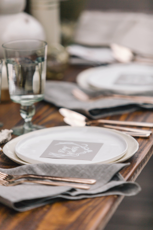 White and Gray Place Setting