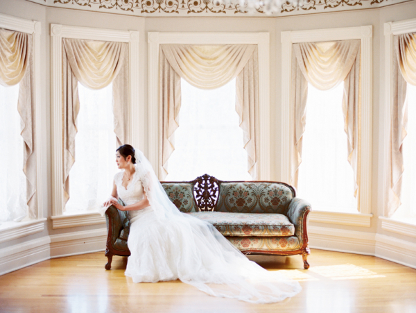Bride in Mansion Wedding
