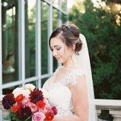 Bride with Burgundy Bouquet