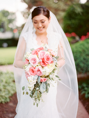 Bride with Pink and Green Bouquet