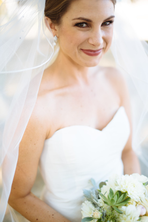 Bride with Succulents in Bouquet