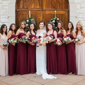Bridesmaids in Shades of Burgundy