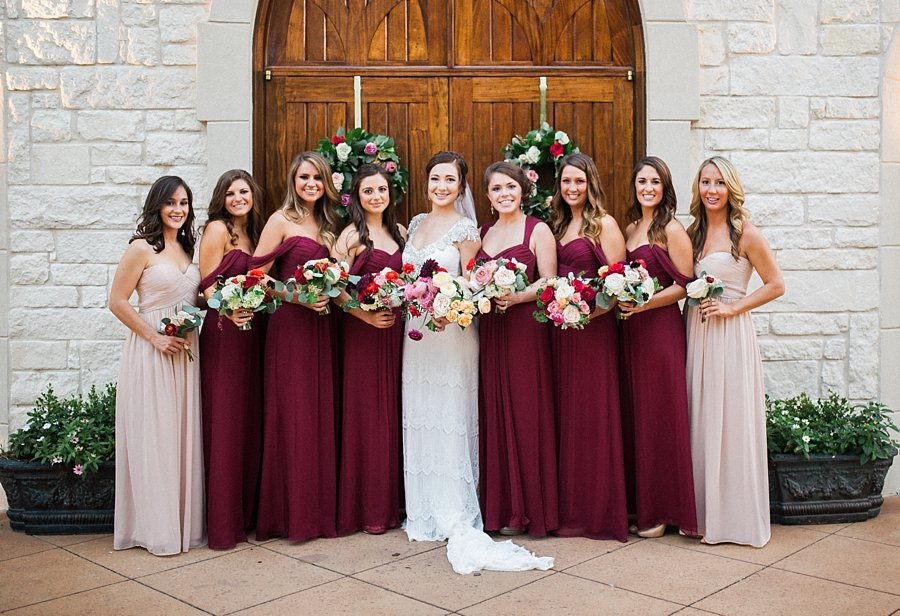 Bridesmaids in shades of burgundy elizabeth anne designs for Burgundy and gold wedding dress