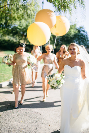 Bridesmaids with Gold Balloons