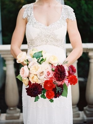Burgundy and Ivory Bouquet