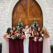 Burgundy and Mauve Bridesmaids