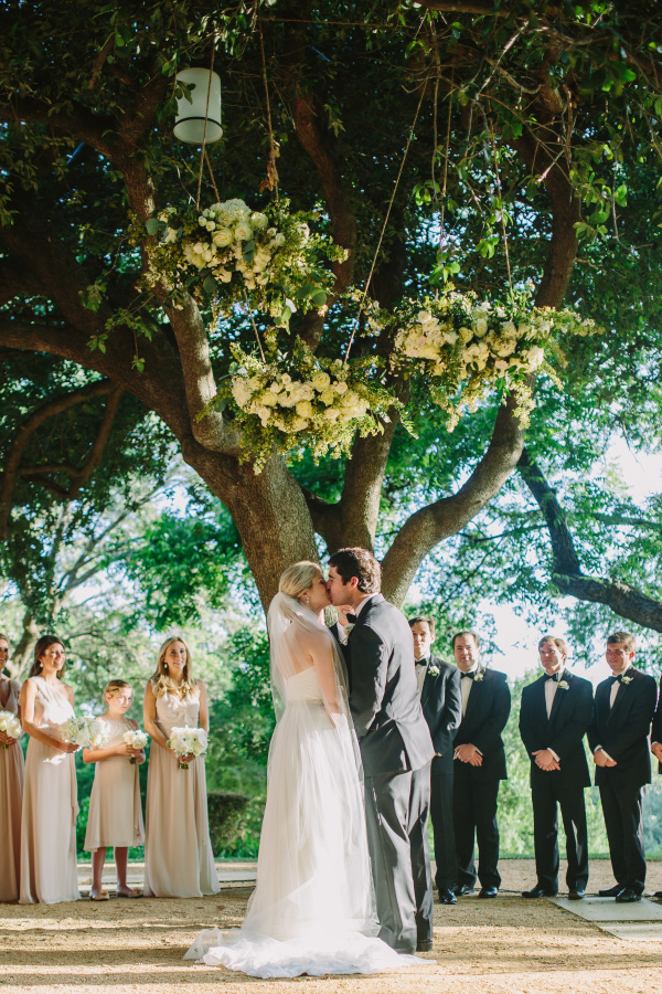 Ceremony Under Floral Chandeliers