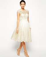 Chi Chi London Premium Metallic Lace Midi Prom Dress