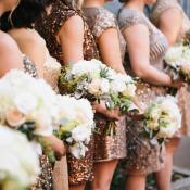 Gold Metallic Bridesmaids Dresses